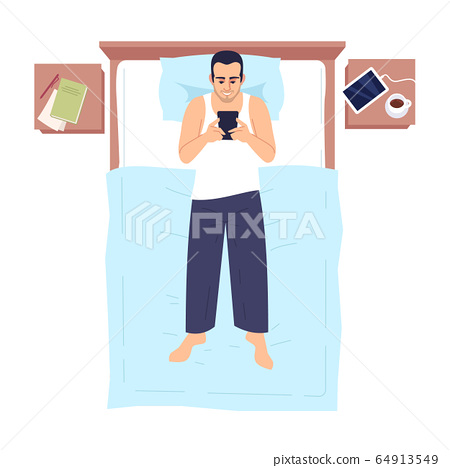 Man chatting in bed with smartphone semi flat RGB color vector illustration. Adult guy lying and using phone, communicating online in bedroom isolated cartoon character on white background 64913549