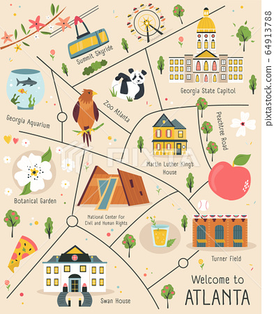 Illustrated map of Atlanta with famous symbols 64913788