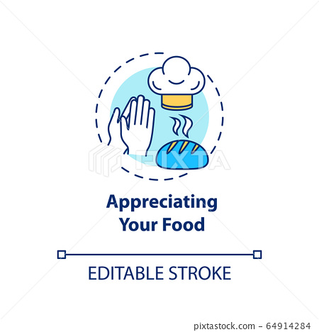 Appreciating your food concept icon. Conscious nutrition, mindful eating idea thin line illustration. Expressing gratitude for meal. Vector isolated outline RGB color drawing. Editable stroke 64914284