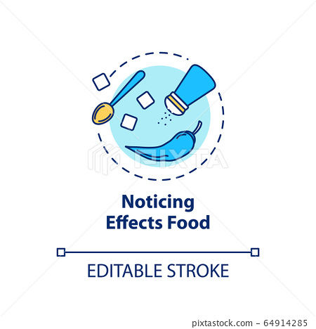 Noticing effects food concept icon. Conscious nutrition idea thin line illustration. Recognizing ingredients, savoring spices. Vector isolated outline RGB color drawing. Editable stroke 64914285