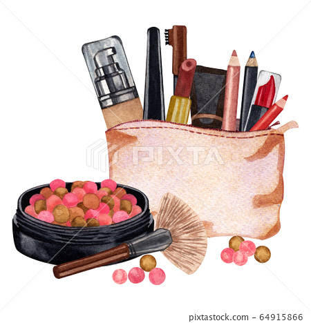 Watercolor make up products. Hand drawn cosmetics set of make up brushes, lipstick, pencils in a cosmetics bag and powder pearls on white background. 64915866