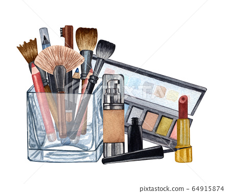 Watercolor make up products. Hand drawn cosmetics set of pearl powder, brushes in a glass holder, powder, texture, palette, mascara, lip stick 64915874
