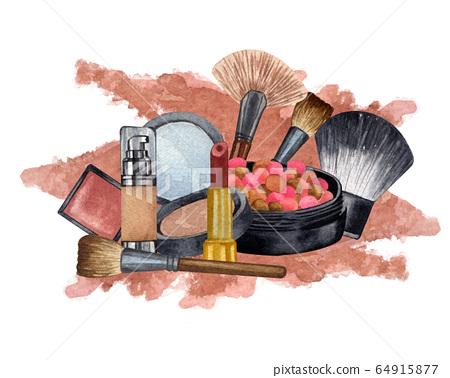 Watercolor make up products. Hand drawn cosmetics set of pearl powder, brush, powder, texture. 64915877