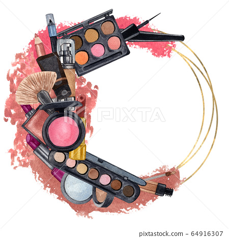 Hand drawn decorative cosmetics frame. Watercolor  make up products. Beauty background.  Make up clip art 64916307