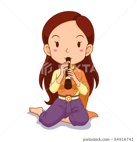 Cartoon character of girl playing Thai traditional clarinet. 64916741
