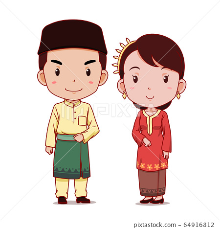 Couple of cartoon characters in Malaysian traditional costume. 64916812