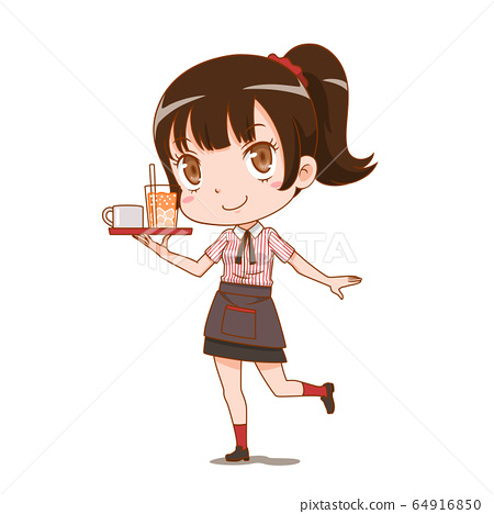 Cartoon character of waitress holding a serving tray. 64916850