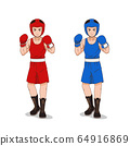 Cartoon character of Amateur Boxer in red and blue sportswears. 64916869