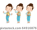 Cartoon character of traditional Thai dancer girl in different poses. 64916876