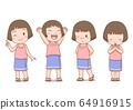 Set of cartoon cute girl in Thai folk dress in different poses. 64916915