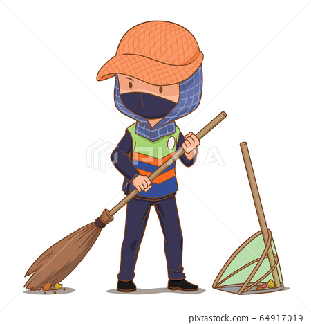 Cartoon character of street cleaner sweeping the floor. 64917019
