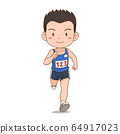 Cartoon character of cute runner boy. 64917023