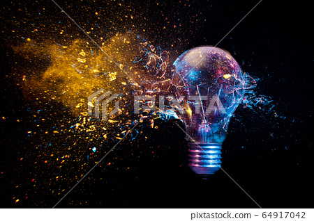 explosion of a traditional electric bulb. shot 64917042