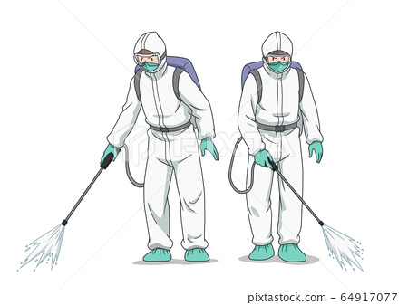 Cartoon character of disinfectant worker wearing protective mask and clothes, spraying coronavirus or covid-19. 64917077