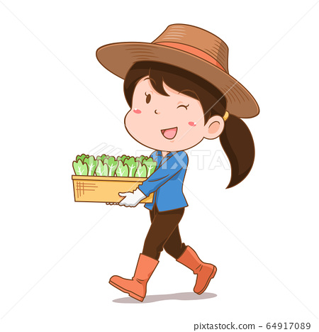 Cartoon character of agriculturist girl carrying vegetables. 64917089