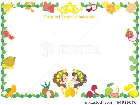 여자 여행과 열대 과일의 프레임 흰색 배경 64919080