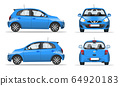 Blue mini car side, front and back view, flat style. Template for web site, mobile application and advertising banner. Car isolated on a white background, vector. 64920183