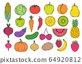 fruits an vegetables icons 64920812