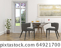 3d rendering of classic interior with dining set 64921700