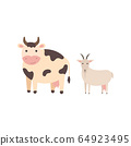 Farm black spotted cow and goat, cartoon vector illustration isolated on white background. Cute cartoon domestic cow and goat side view. Print for nursery 64923495