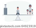 Man on the knees between an alcohol and a Family. Family balancing on a seesaw. Alcoholism problem 64923919