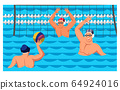 Players sportsmen enjoying water polo game cartoon 64924016