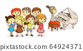 Kids chorus performance under piano accompaniment 64924371
