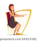 Smiling harpist flat vector illustration 64924382