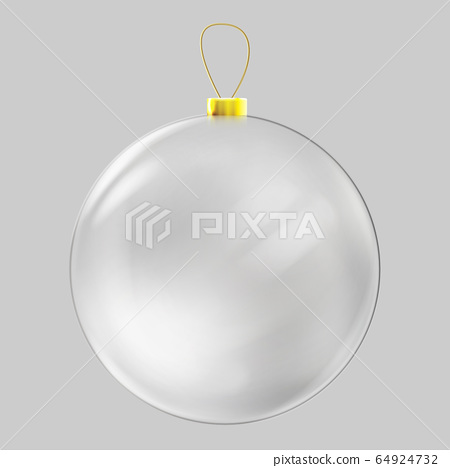 Realistic glass christmas ball. Transparent Christmas ball decoration. 64924732