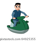 happy cartoon man wearing a wetsuit and a water vest on a jet ski. white background isolated vector illustration 64925355