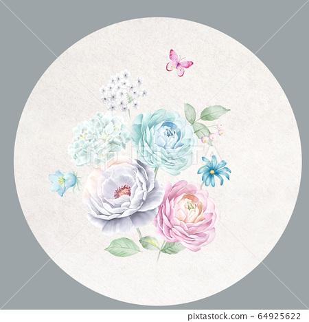 色彩豐富的花卉素材組合和設計元素 64925622