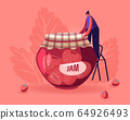 Happy Woman Preserving Homemade Jam to Glass Jar. Girl Standing on Ladder Put Cloth on Lid of Canning Jam-jar with Strawberry Dessert. Autumn Harvesting of Products. Cartoon Flat Vector Illustration 64926493