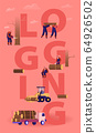 Logging Concept. Lumberjacks Cutting Trees and Wooden Logs Using Chainsaw and Loading for Transportation. Lumber Workers with Equipment Poster Banner Flyer Brochure. Cartoon Flat Vector Illustration 64926502