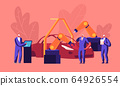 Car Production on Plant, Car Manufacture. Factory Robot Arms Weld Vehicle Body in Assembly Shop with Workers Manage Automobile Building Process. Automobile Engineering Cartoon Flat Vector Illustration 64926554
