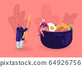 Chinese Food and Asian Gastronomy Concept. Tiny Woman Sitting on Huge Bowl with Meat, Vegetables and Egg. Man Holding Wooden Chopsticks Prepare to Eat Oriental Cuisine Cartoon Flat Vector Illustration 64926756