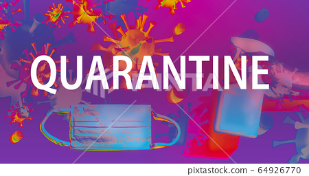 Quarantine theme with face mask and spray bottle 64926770