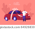 Automobile Purchase Concept. Man Buyer or Seller Holding Keys in Hand Standing near New Red Sedan Car Wrapped with Festive Bow. Customer or Salesman Successful Deal. Cartoon Flat Vector Illustration 64926830
