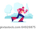 Professional Sportsman Playing American Football. College Competition or Championship on Stadium, Young Footballer Player Carry Ball to Touchline Attacking Opponents. Cartoon Flat Vector Illustration 64926875