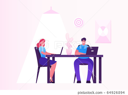 Business Woman and Man Working on Personal Computer in Creative Office Workplace. Hardwork Male Female Characters Corporate Company Workers Sitting at Desk Work on Pc. Cartoon Flat Vector Illustration 64926894