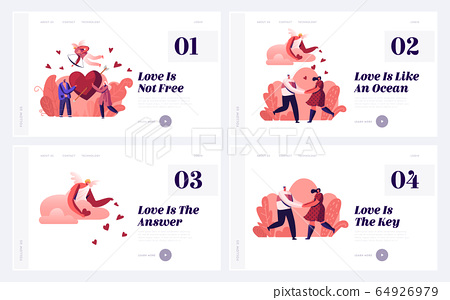 Male and Female Characters Falling in Love Landing Page. Happy Loving Couple in Romantic Relations Share Red Heart 64926979