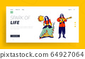 Gipsy Culture, Fair Holiday Entertainment Website Landing Page. Gypsy Couple Dressed in Ethnic Wear Dancing 64927064