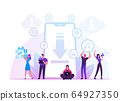 Free Download Concept. Characters around of Huge Smartphone Transfer and Sharing Files Using Torrent Servers Services 64927350