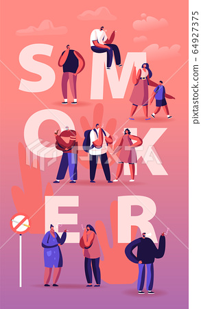 Smoker and Smoking Addiction Concept. Young and Old People Smoke Cigarettes and Pipe in Public Place 64927375