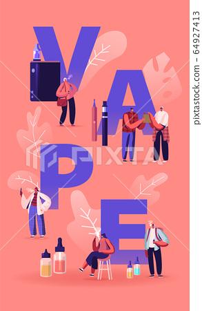 Vape Shop Business and Smoking Addiction Concept. Urban Hipster People Enjoying Vaping, Nicotine and Tobacco 64927413