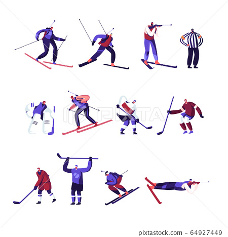 Winter Sport Activities Hockey, Freestyle, Biathlon Competition or Training Set Isolated on White Background 64927449