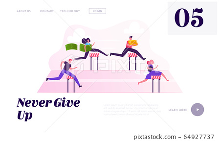 Business People Obstacle Race Website Landing Page. Managers Holding Money and Documents Jumping over Barriers on Stadium. Leadership Steeplechase Web Page Banner. Cartoon Flat Vector Illustration 64927737