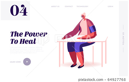 Old Lady Medical Check Up in Clinic Website Landing Page. Senior Woman Sitting at Table with Tonometer Cuff on Shoulder Measuring Blood Pressure Web Page Banner. Cartoon Flat Vector Illustration 64927768