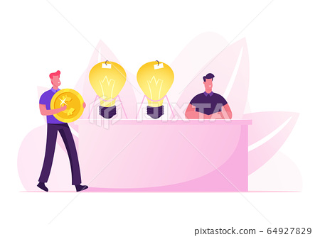 Businessman with Huge Golden Coin in Hands Coming to Desk with Inventor Sitting near Glowing Light Bulbs Selling Business Ideas. Creativity and Innovations Concept Cartoon Flat Vector Illustration 64927829