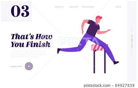Businessman Leadership Competition Challenge Website Landing Page. Successful Leader Business Man Character Run Sprint Race with Barriers on Stadium Web Page Banner. Cartoon Flat Vector Illustration 64927839