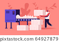 Man Textile Factory Worker Put Raw Cotton Material on Conveyor Belt for Pressing and Making Bales in Blow Room of Carding Department in Sewing Plant. Fiber Industry Cartoon Flat Vector Illustration 64927879